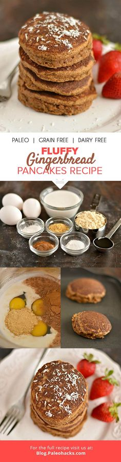 These Paleo Gingerbread Pancakes are made with molasses and coconut flour. You'll want to sink your teeth into these healthy pancakes pronto! Paleo Pancakes, Pancakes And Waffles, Paleo Breakfast, Breakfast Recipes, Pancake Recipes, Breakfast Pancakes, Free Breakfast, Breakfast Ideas, Paleo Recipes
