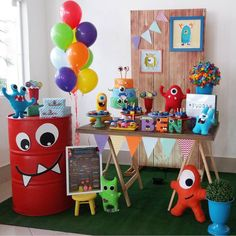 Trendy Baby First Birthday Games Kids Ideas First Birthday Games, Baby Boy 1st Birthday Party, Birthday Party Tables, Baby Party, Little Monster Birthday, Monster 1st Birthdays, Monster Birthday Parties, First Birthdays, Monster Baby Showers