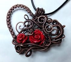 Copper Wire-wrapped Filigree Large Heart by PoltergeistJewellery