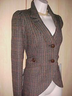 SOUTH Fitted Tweed Wool Hacking Jacket  Sz. 10
