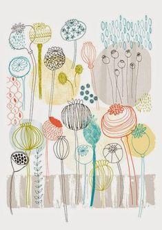 Pretty Poppies Print by Lesley Grainger Design Textile, Design Floral, Motif Floral, Boho Pattern, Motifs Textiles, Plant Illustration, Medical Illustration, Flower Doodles, Mark Making