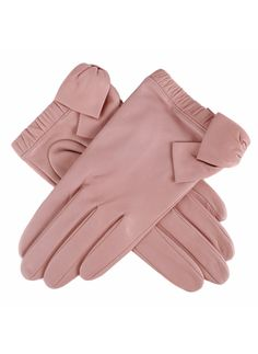 S/S Leather glove with elasticated cuff and large side bow