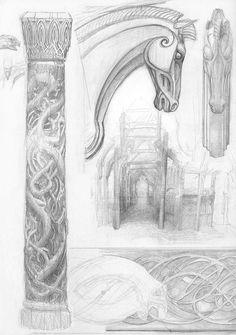 Alan Lee Sketchbook - conceptual art for LOTR - Rohan