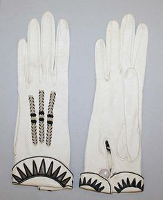 Gloves 1920s, probably American. Medium: leather, silk (hva)