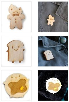 Cute Wooden Brooches