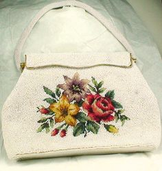 Vintage 1950s White Beaded Handbag With Lovely by BrassCatVintage.