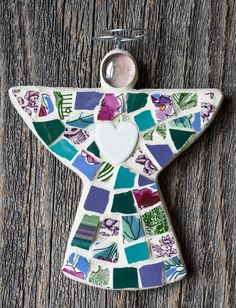 Your place to buy and sell all things handmade Peace By Piece, Broken China, Wire Hangers, Teal, Purple, Mosaics, Belly Button Rings, Diy And Crafts, Angel
