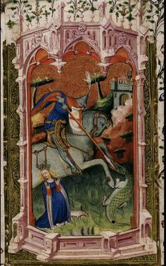 St George and the dragon. Detail of a miniature from the Beaufort/Beauchamp Hours, England (London) and Netherlands (Bruges), c. British Library: Royal MS 2 A XVIII, f. Dragon Medieval, Medieval Life, Medieval Art, Medieval Manuscript, Illuminated Manuscript, Hl Georg, Patron Saint Of England, Saint George And The Dragon, Saint Georges