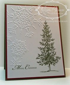 Stampin Up Northern Flurry embossing folder. Not sure where the tree stamp is from.