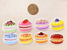 Colorful Macaron Sticker Flakes Pack of 24 por BeagleCakesArt