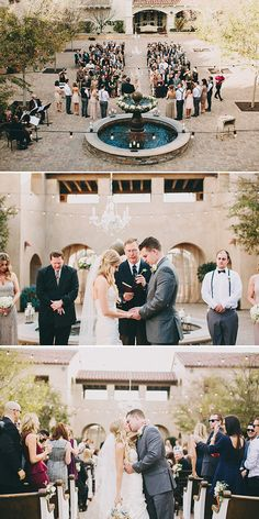 wedding ceremony at a fountain