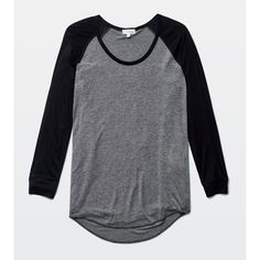 Wilfred Free baume t-shirt Aritzia ($45) ❤ liked on Polyvore featuring tops, t-shirts, shirts, long sleeves, long sleeve baseball t shirt, t shirts, star t shirt, blue long sleeve shirt and blue shirt