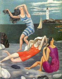 "Pablo Picasso - ""Les baigneuses (The bathers)"" 1918 - Oil on canvas - 27 × 22 cm. At the Art Gallery of Ontario in ""Picasso"" until August Pablo Picasso, Kunst Picasso, Art Picasso, Picasso Paintings, Sea Paintings, Paintings Famous, Indian Paintings, Abstract Paintings, Landscape Paintings"