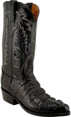 Lucchese Classics L1325 Mens Black Hornback Caiman Crocodile Tail Boot Lucchese Boots Mens, Crocodile Boots, Western Boots For Men, Old Gringo Boots, Cool Boots, Fashion Boots, Combat Boots, Cowboy Boot, Classic