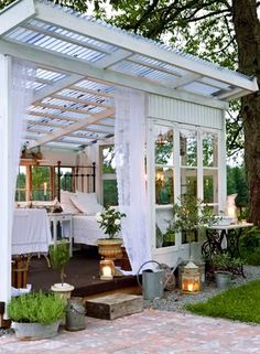 Outdoor room for rain and late nights with the boo in the backyard