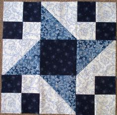 February 2014 Alternate -Blue and White. No pattern or instructions. Self-explanatory. Star Quilt Blocks, Star Quilts, Scrappy Quilts, Quilt Block Patterns, Pattern Blocks, Blue Quilts, White Quilts, Applique Quilts, Patch Quilt