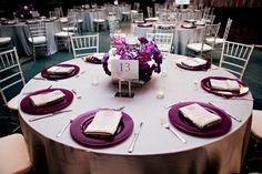 Purple and silver wedding details. (We ended up doing silver and dark purple satin tablecloths. Turned out nice. :) only problem we had was they were a little wrinkled. Purple Wedding Tables, Wedding Table Setup, Purple And Silver Wedding, Wedding Table Linens, Lilac Wedding, Silver Weddings, Wedding Colors, Plan My Wedding, Wedding Book
