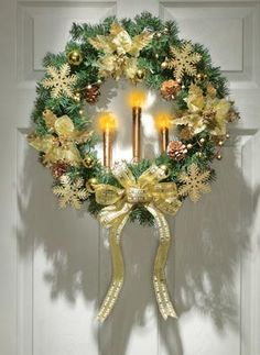 Wreaths are very traditional for many holidays. Christmas wreaths, no matter outside or inside you hang them, create a special atmosphere. Choosing or making a Christmas wreath use your imagination and don't be afraid of experiments to be original. Christmas Candle Lights, Christmas Wreaths With Lights, Lighted Wreaths, Outdoor Christmas Decorations, Holiday Wreaths, Holiday Decor, Family Holiday, Holiday Style, Seasonal Decor