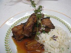 Porco com Ananás Caramelizado e Arroz de Côco