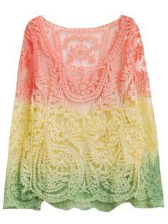 Pink Yellow Dip Dye Long Sleeve Hollow Crochet Lace Blouse