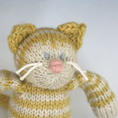 "Wool Tabby Cat in Butter - Hand Knit Eco Friendly Stuffed Animal - Toy Kitty, 10"" tall"