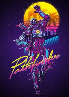 'Apex Legends - Pathfinder Retro Vaporwave Poster' Poster by NinjaDesignInc Vaporwave, 80s Characters, Video Game Posters, Video Games, Retro Phone, Witch Decor, Retro Waves, Retro Art, Print Artist