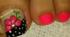 Imagen relacionada Pedicure Nail Art, Pedicure Designs, Toe Nail Designs, Toe Nail Art, Cute Toe Nails, Fancy Nails, My Nails, Pretty Pedicures, Nails 2017