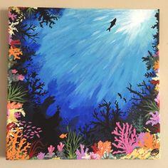 Acrylic Painting X Easy Canvas Art, Simple Canvas Paintings, Acrylic Painting Canvas, Gouache Painting, Watercolor Illustration, Watercolor Art, Sea Murals, Desenhos Cartoon Network, Underwater Painting