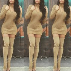 Autumn Fashion V Neck Choker Cut Out Casual Sweater Dress