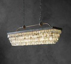 Chandelier over Dining Table Clarissa Glass Drop Rectangular Chandelier | Pottery Barn