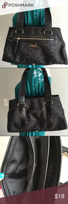 "Black leopard print MaggiB roomy handbag Like new black leopard print bag measures approximately 13x8.5"" with a handle drop of 7.5"". Three large zippered areas plus an interior and an exterior zip pocket and cell pocket in the center compartment. Patent leather trim and silver hardware, including metal feet. MaggiB Bags Shoulder Bags"