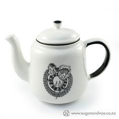 Teapot - Protea Dreams #black #ceramics #gift #home-decor #online-shop #protea #south-africa #tea-pot #white
