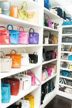 One day, I will have my version of this! A shelf of colorful purses! :)
