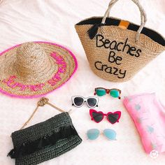 Summer beach bag, straw hat, fun sunglasses, and a beac coverup -- ready for summer 2020! Cool Sunglasses, Summer Accessories, Summer Beach, Straw Bag, Cover Up, Bags, Posts, Shopping, Fun