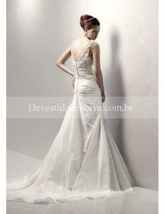 Nobre Tafetán Decote em V Sereia Vestidos de Noiva