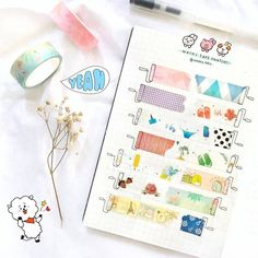 Creative Crafts 494973815293333261 - Are you a washi tape collector? Here are 20 different creative washi tape swatch layouts for you to use in your bullet journal! Diy Bullet Journal, Bullet Journal Washi Tape, Bullet Journal Banner, Bullet Journal Themes, Bullet Journal Spread, Bullet Journal Layout, Bullet Journal Vocabulary, Bellet Journal, Tape Art