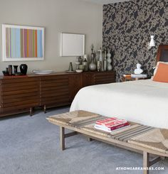 Design Consultation by Meredith Boswell | Photography by Nancy Nolan | At Home in Arkansas | www.athomearkansas.com #midcenturymodern #bedroom