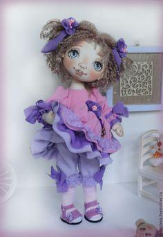 Купить Тося.Кукла текстильная. - сиреневый, кукла ручной работы, кукла, кукла в подарок
