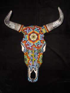 Huichol Indian beaded bull skull www.peyotepeople.com