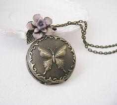 Butterfly Pocket Watch Necklace. vintage style butterfly pocket watch with handmade flower  $32
