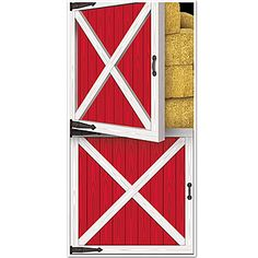 Our Red Barn Door Cover features the look of an old wooden barn door, with straw bales stacked behind it. Complete your farm or western look.