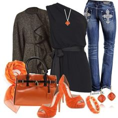 Black & orange outfit. Beautiful!