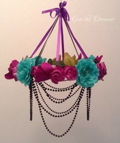 Flower mobile chandelier Enchanted Forest by EverTheDream on Etsy