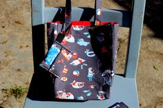 Small tote 100% Cotton with Pugs at the beach design (waste bag and card holder sold separately) by PuppyPawzBoutique on Etsy