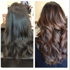 Balayage on brunette hair Love this style of streaking the hair!