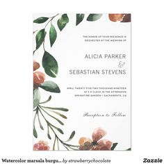 Shop Watercolor marsala burgundy blooms wreath wedding invitation created by strawberrychocolate. Personalize it with photos & text or purchase as is! Burgundy Wedding Invitations, Garden Wedding Invitations, Watercolor Wedding Invitations, Elegant Wedding Invitations, Burgundy Flowers, Floral Flowers, Marsala, Autumn Wedding, Watercolor Flowers