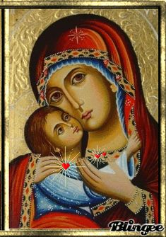 i trust in thee in your first noel Religious Icons, Religious Art, Greek Icons, Russian Icons, Religious Paintings, Blessed Mother Mary, Mary And Jesus, Byzantine Icons, Madonna And Child