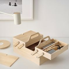 Organiser Box, Organizer, Desk Organization Ikea, Pine Plywood, Recycling, Diy Cardboard, Thread Spools, Sewing Box, Diy Desk