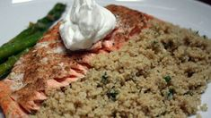 Serve a tasty and healthy meal with salmon rich with omega-3 fatty acids and a side of couscous. Ingredients 1 1/2 cups chicken stock 4 scallions, chopped 2 cloves garlic, finely chopped 1 tablespoon butter 1 1/2 cups couscous Salt and pepper About 1/4 cup dill, finely chopped Juice of 1 lemon Extra virgin olive …