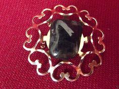 Hearts Black Gray #Glass Accent Stone Pin Coat Jacket Fashion #Jewelry Accessory.